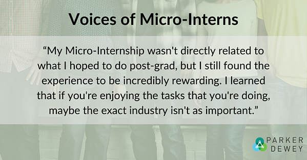 """Student Voice: """"My micro-internship wasn't directly related to what I hoped to do post-grad, but I still found the experience to be incredibly rewarding. I learned that if you're enjoying the tasks that you're doing, maybe the exact industry isn't as important."""""""