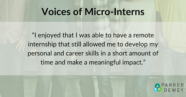 """Student Voice: """"I enjoyed that I was able to have a remote internship that still allowed me to develop my personal and career skills in a short amount of time and make a meaningful impact."""""""